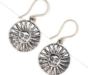Sun Face 92.5 Sterling Silver Earrings For Women