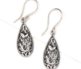Oval 92.5 Sterling Silver Teardrop Floral Filigree Earrings