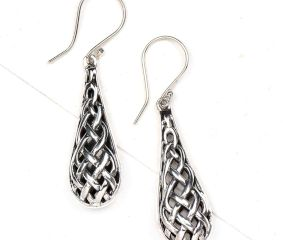 Long Tear Drop Celtic Knot 92.5 S Silver Drop Earrings