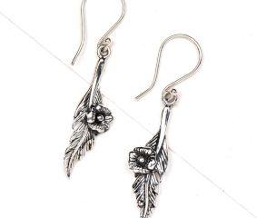 Leaf Flower 92.5 Sterling Silver Earrings Daily Wear For women
