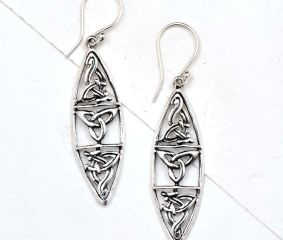Oval Celtic Knots 92.5 Sterling silver Filigree Earrings