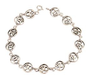 Adjustable Om Charm 92.5 Sterling Silver Bracelet In Delicate rings