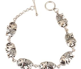 Elephant Charms 92.5 Sterling Silver Bracelet For Women