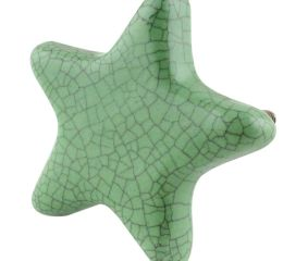 Green Star Crackle Ceramic Knob