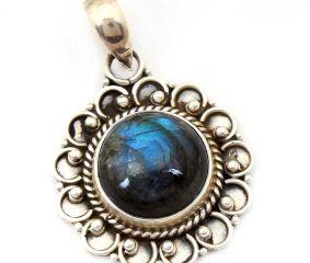 Labradorite Gemstone 92.5 Sterling Silver Handmade Round Male Female Pendant