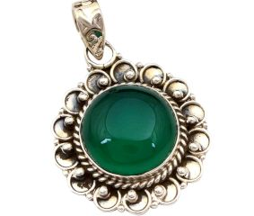 Green Onyx Gemstone 92.5 Sterling Silver Handmade Round Male Female Pendant