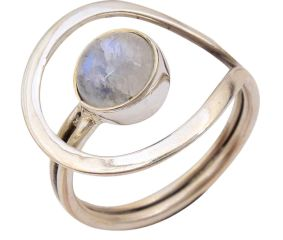 Rainbow Moonstone Gemstone 92.5 Sterling Silver Antique Handmade Adjustable Male Female Ring