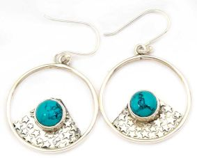 Turquoise  Natural Gemstone 92.5 Sterling Silver Antique Handmade Boho Female Dangle Earrings.