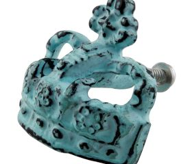 Antique Sea Green Crown Iron Dresser Knob
