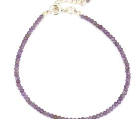 Elegant Amethyst beaded bracelet with extension chain