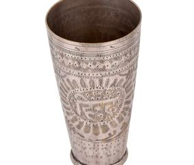 Jay In Sunflower Engraved Brass Lassi Glass Cup