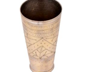 Handmade Brass Lassi Glass Cup With Triangular Leaves Pattern