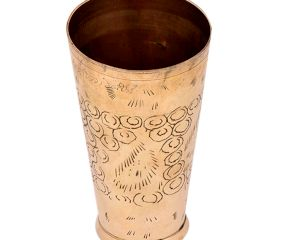 Brass Lassi Glass Cup With Irregular shaped Rings And Abstract Design