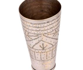 Hand Crafted Brass Lassi Glass Cup With Dotted Border And Leafy Pattern