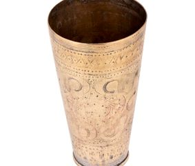 Brass Lassi Glass Cup With Faded Abstract Design For Home Decoration