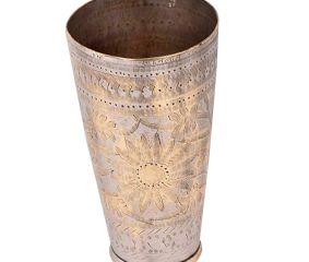 Brass Lassi Glass Cup Sunflower And Diamond Border