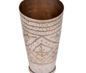 Handmade Leaf Design Brass Punjabi Lassi Glass