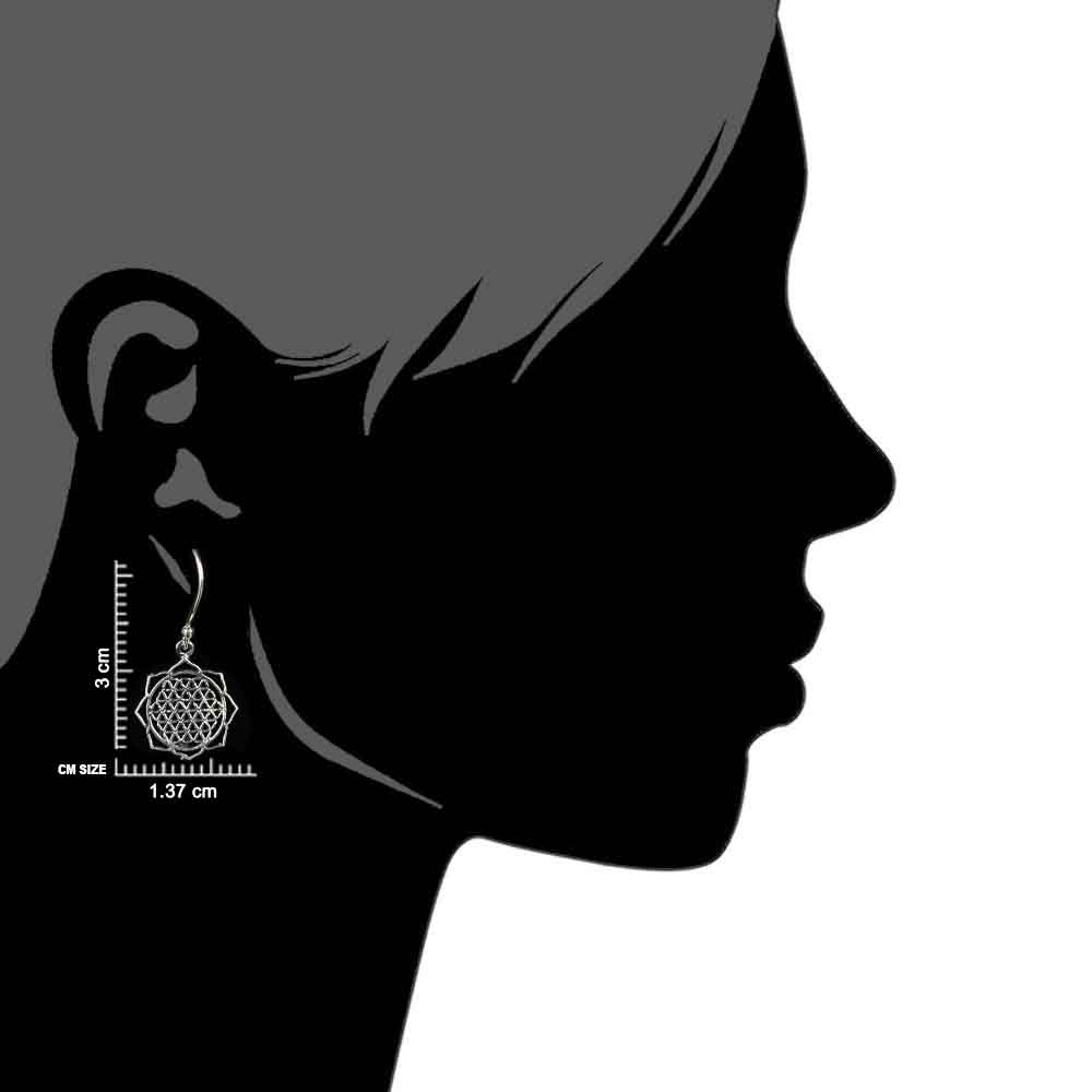 92.5 Sterling Silver Earrings in Floral Circular Sacred Flower Of Life Design