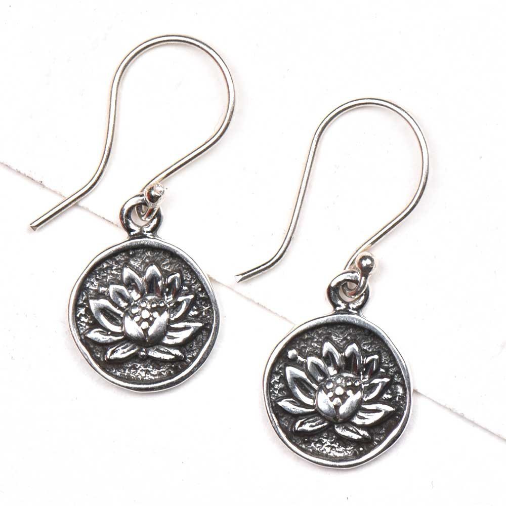 Oxidized Sun Flower Engraved 92.5 Sterling Silver Earrings
