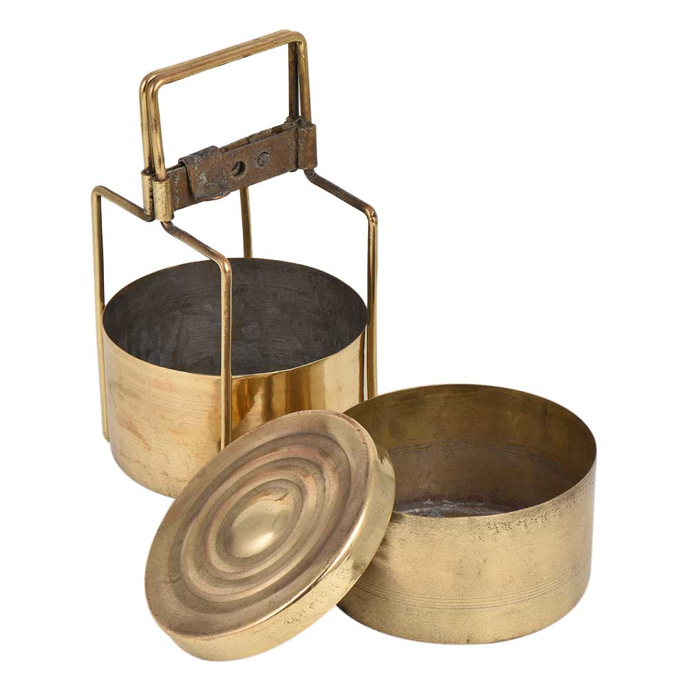 Traditional Double Container Brass Tiffin Box