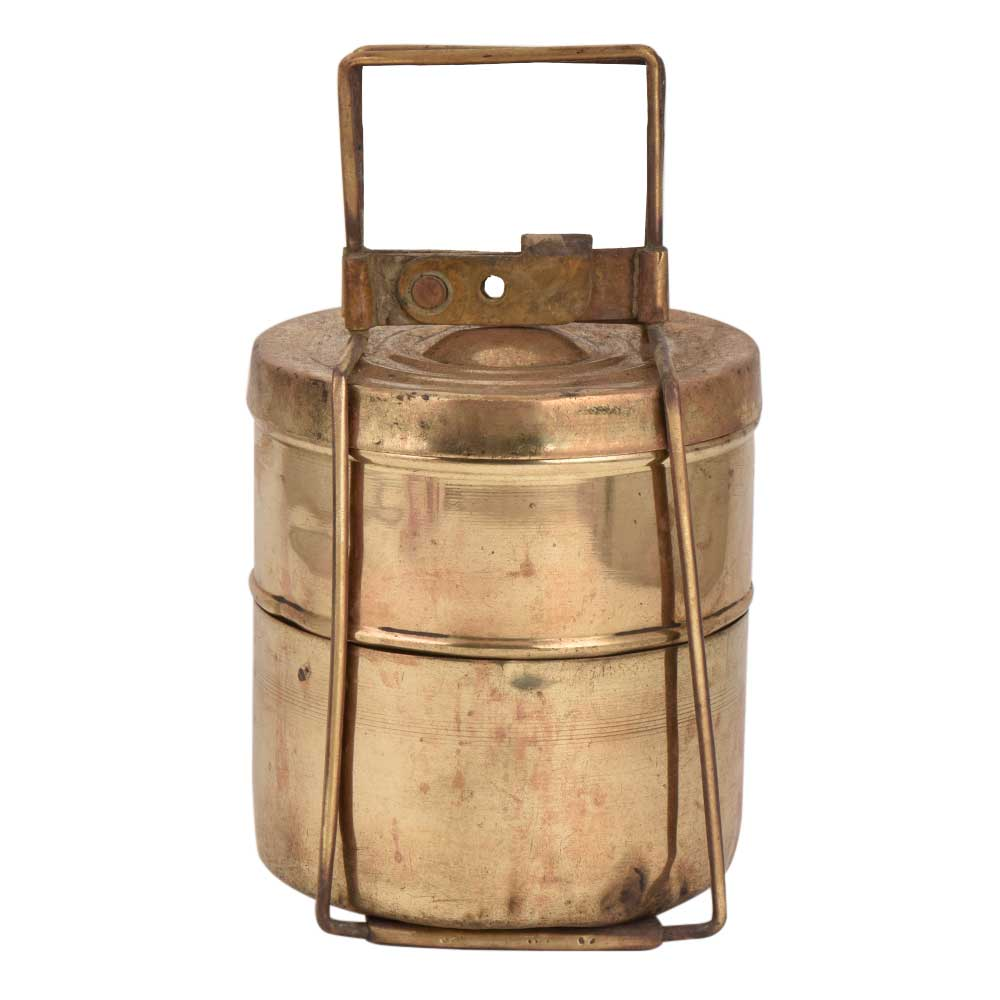 Two Tier Brass Tiffin Box With Metal Frame And lock