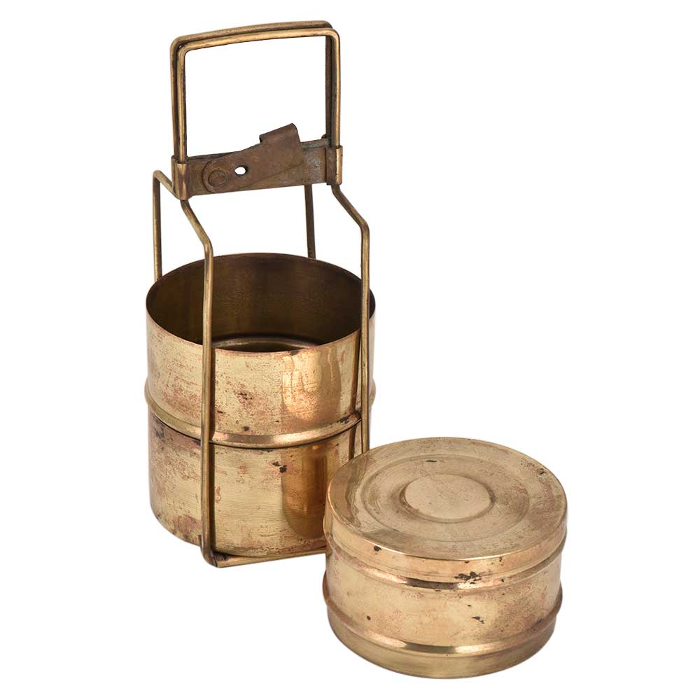 Three Tier Brass Tiffin Box With Long Metal Frame