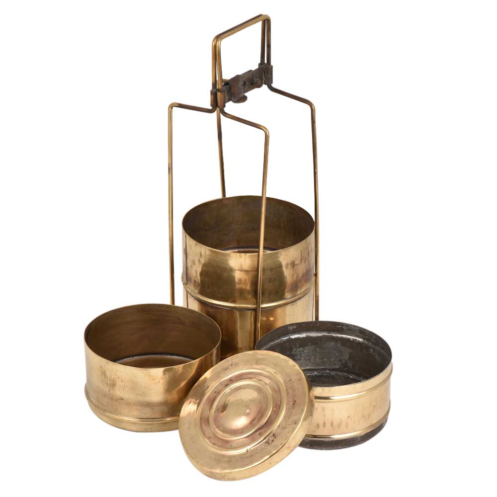 Four Compartment Brass Tiffin Box With A metal Frame And a Lock