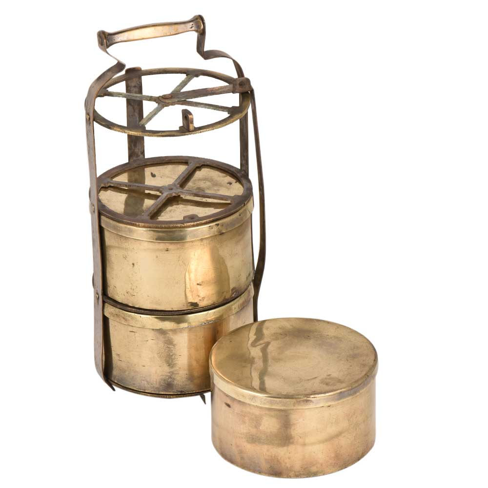 Four Cross Frame Brass Tiffin Box For Three Containers
