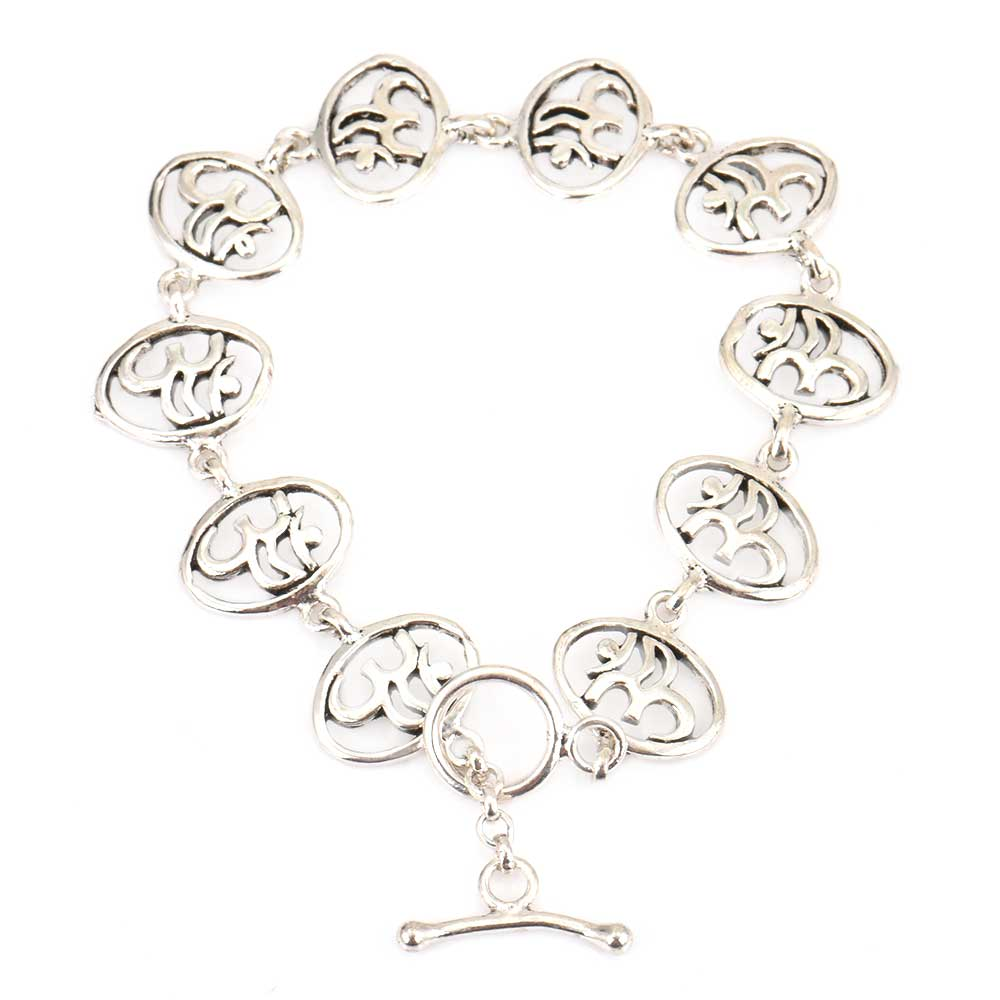 Round Om Charms 92.5 Sterling Silver Bracelet For good Luck