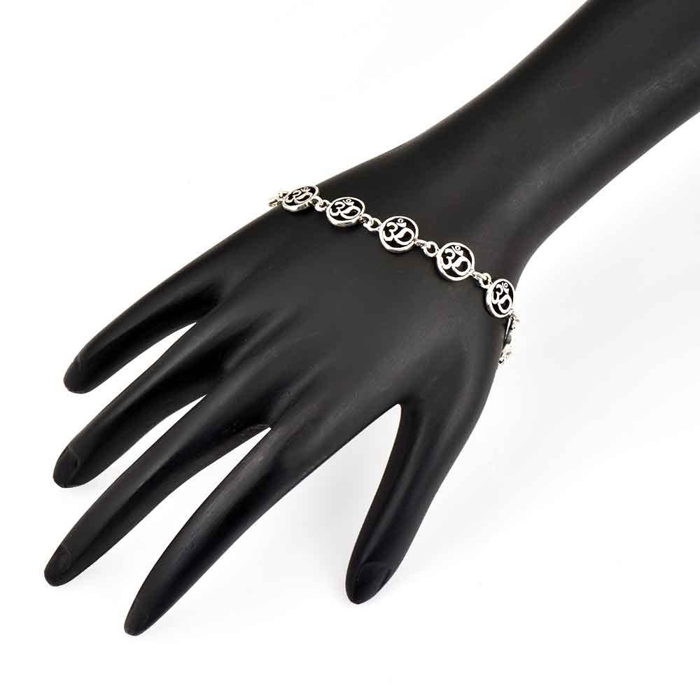 Adjustable Om Charm 92.5 Sterling Silver Bracelet In Delicate rings