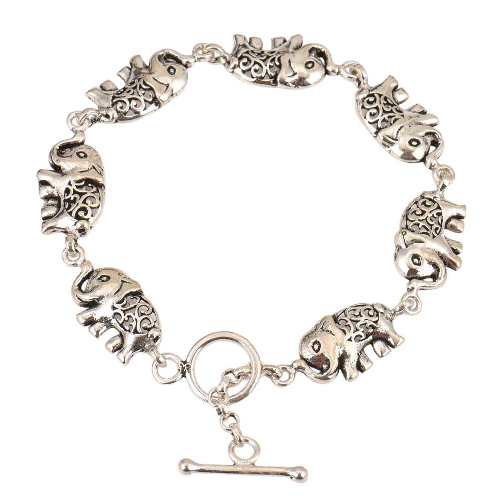 Elephant Charms 92.5 Sterling Silver Bracelet For Women