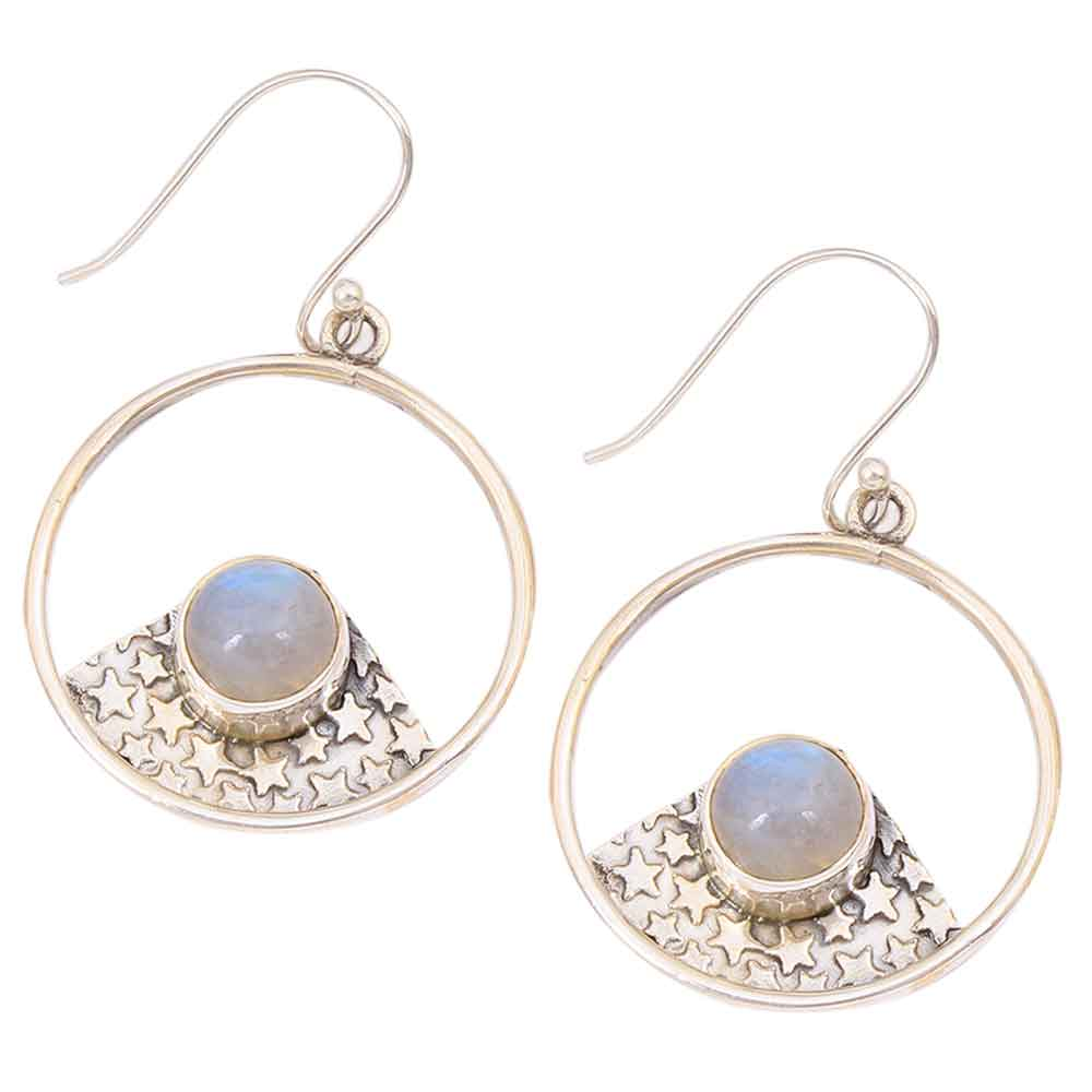 Woman Holiday Gift Oval Rainbow Moonstone Gems Vintage Silver Necklace Pendant