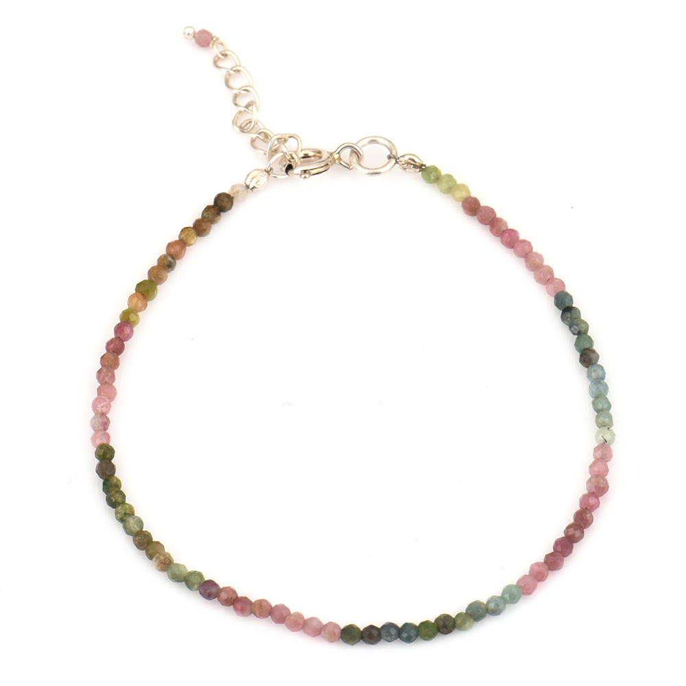 Tourmaline Beaded Bracelet  With Extension Chain