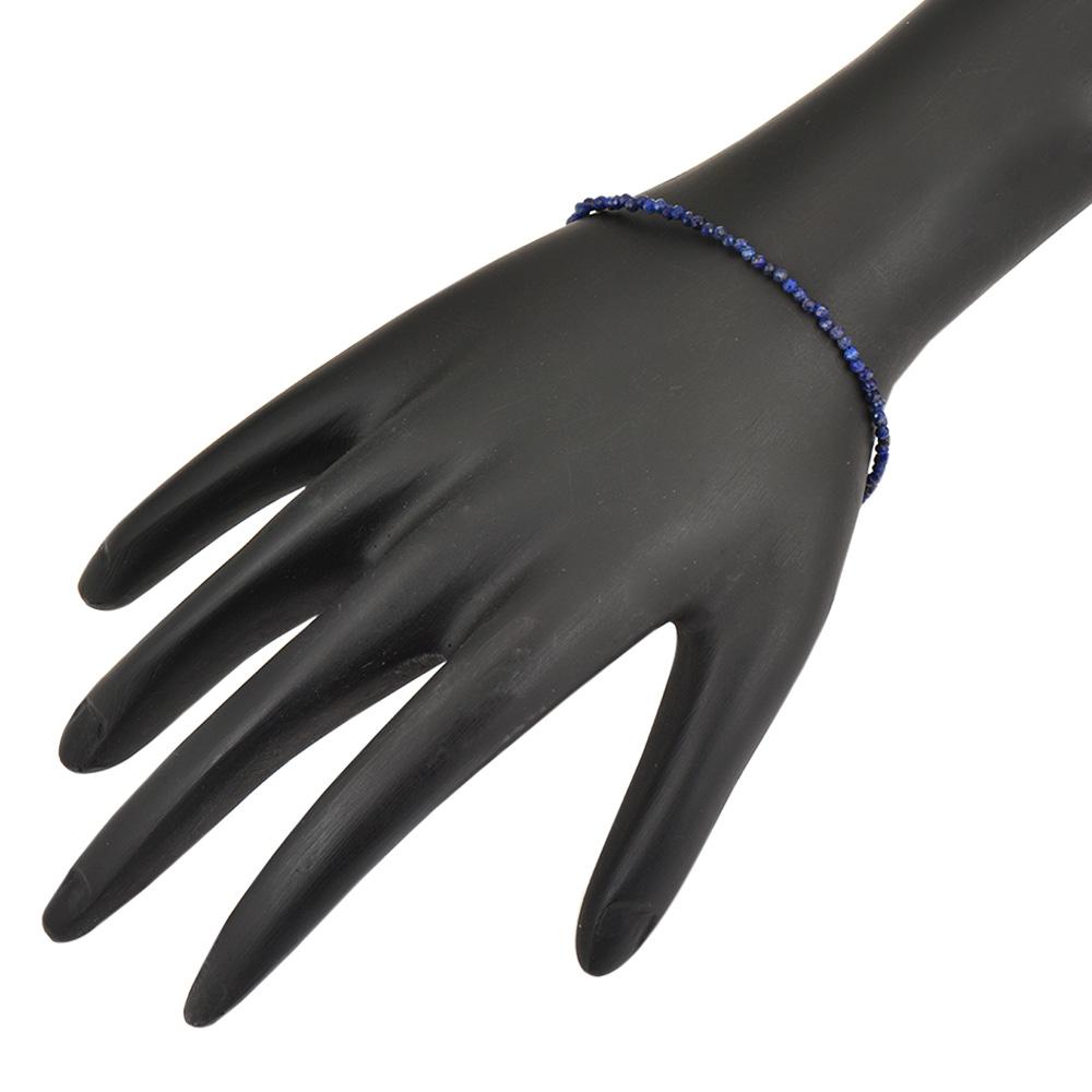 Navy Blue Lapiz Lazuli Beaded Bracelet With Extension Chain