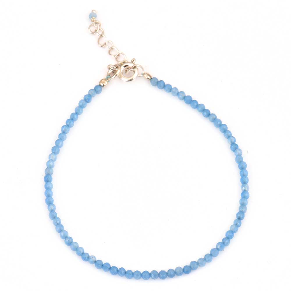 Blue Chalcedony Beaded Bracelet With Extension Chain