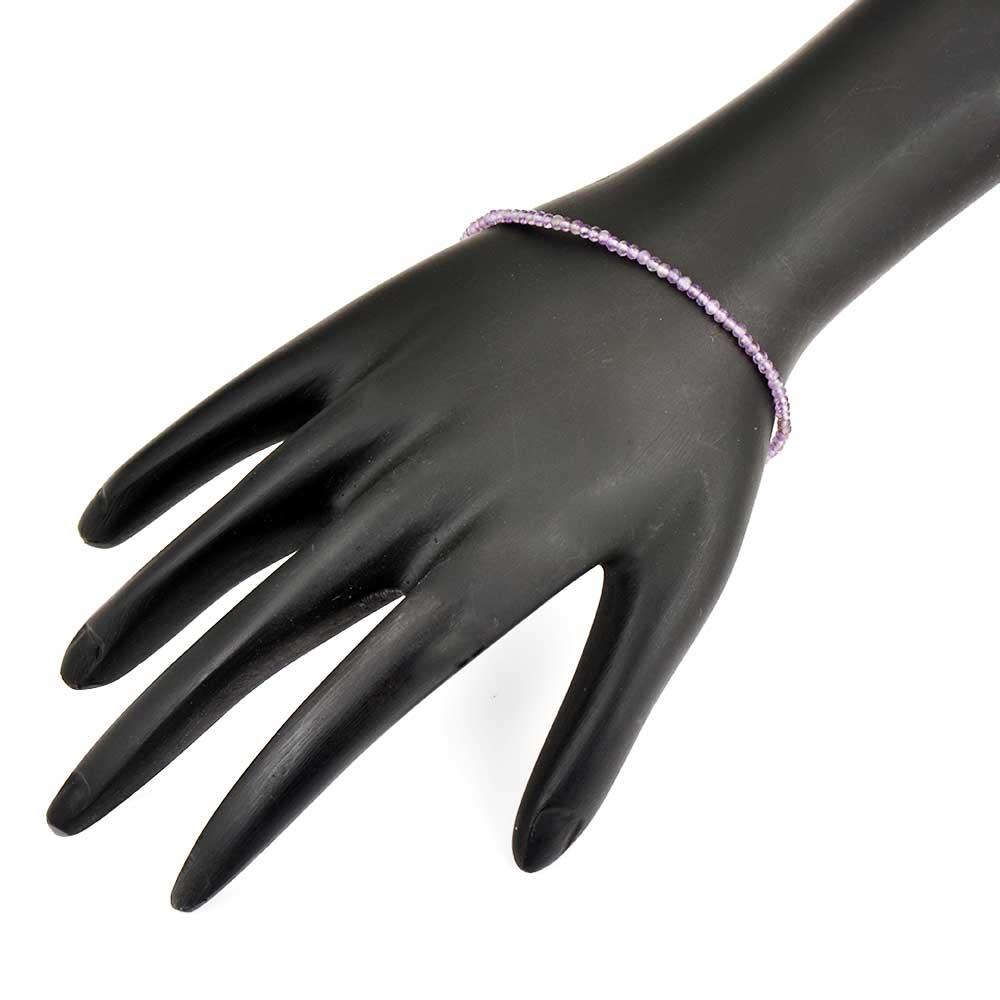 Elegant Amethyst beaded bracelet with extension chain