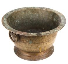 Old Brass Flower Pot With One Ring Handle For Decoration