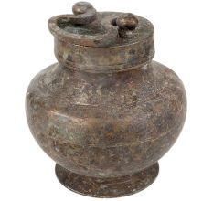 Brass Water Pot With Lid And  Handle On Top