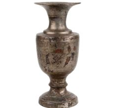 Brass Vase With Hand painted Design Silver Polish