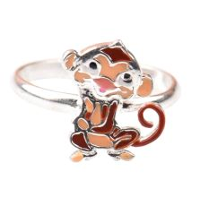 92.5 Sterling Silver Ring With Jerry Mouse Charm Kids Jewelry