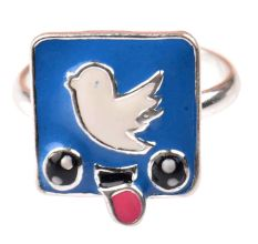 92.5 Sterling Silver Ring With Blue Bird Blue Background Kids Jewelry