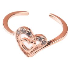 92.5 Sterling Silver Toe Ring With Double Heart For Women With Rose gold Polish