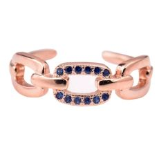 92.5 Sterling Silver toe Ring Chain Design Decorated with Tiny Tanzanite Stones With Rose Gold Polish