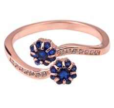 Tanzanite Floral 92.5 Sterling Silver Open able Toe Ring Studded American Diamonds Rose Gold Polish