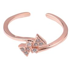 Bow Tie 92.5 Sterling silver Toe Ring American Diamond Studded Open able Jewelry Rose Gold Polish