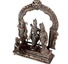 Brass Ram Darbar Statue With  Hanumanji And Prabhavali