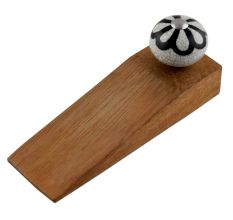 Black Sunflower Crackle Wooden Door Stopper