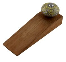 Mixed Circular Crackle Ceramic Wooden Door Stopper