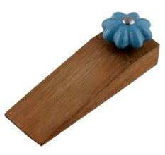 Turquoise Crackle Ceramic Wooden Door Stopper