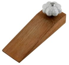 White Crackle Ceramic Melon Wooden Door Stopper